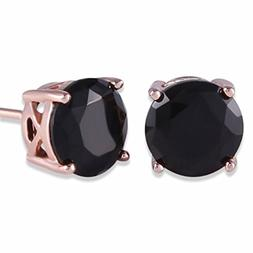 GULICX Rose Gold Tone Unique Chic 7mm Round Black Stud Earri