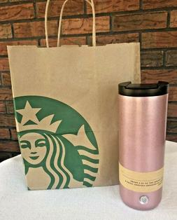 Rose Gold Vacuum Insulated Tumbler 16 Ounce Flip Top Thermos