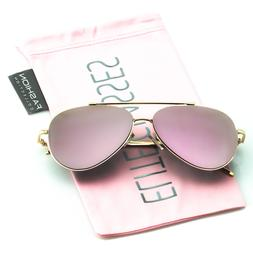 Rose Gold Women Sunglasses Aviator Mirrored Metal Oversized