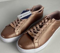 LACOSTE Rose Gold Womens Sneakers Metallic Fashion  Leather