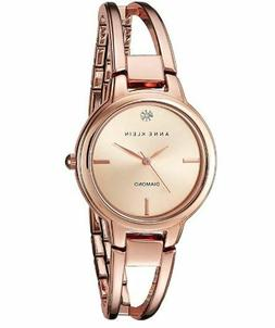 Anne Klein® Rose Goldtone Open Link Diamond Dial Bangle