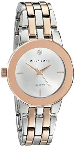 Anne Klein® Rose Goldtone and Silvertone Watch with Diam