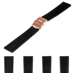 StrapsCo Rubber Watch Band w/ Rose Gold Deployant Clasp - Qu