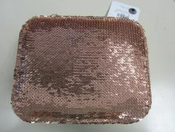Sequin Rose Gold Tone Jewelry Box/ Organizer/ Case