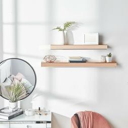 Beautify Set of 2 Rose Gold Mirrored Shelves – Floating Di