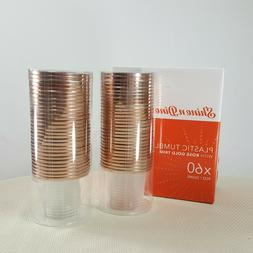 Shine and Dine 60 Plastic Tumblers with Rose Gold Trim Weddi