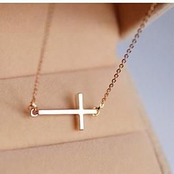 Ghome Sideways Cross Necklace 18k Gold Plated Stainless Stee