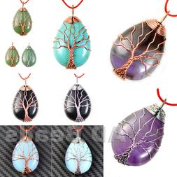 Silver & Rose Gold Plated Wire Wrap Tree of Life Natural Gem