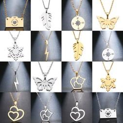 Silver Gold Chain Choker Heart Butterfly Pendant Simple Neck