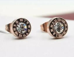Silver Gold Rose Gold Titanium Stainless Steel Round Cubic Z