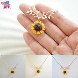 Simple Sunflower Pendant Sunflower Rose Gold Necklace Chain