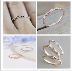 Size 5-10 Womens Rose Gold Inlaid Crystal Twist Rings Weddin