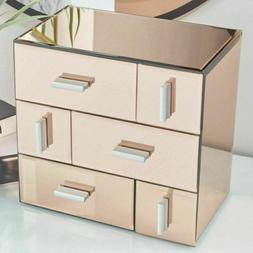 Small Mirrored Jewellery Box Organizer Rose Gold 6 Drawers D