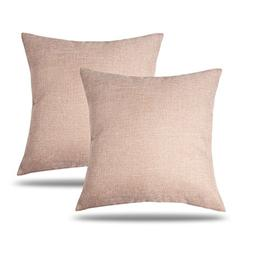 CARRIE HOME Solid Color Decorative Cotton Linen Throw Pillow