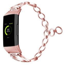 YiJYi Stainless Steel Band Compatible Fitbit Charge 3,Women