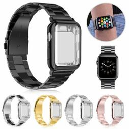 Stainless Steel Band Strap + Case Cover For Apple Watch Seri