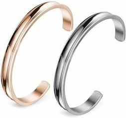 Zuo Bao Stainless Steel Bracelet Grooved Cuff Bangle for