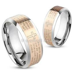 Stainless Steel Rose Gold IP Lord's Prayer & Cross Two-Tone