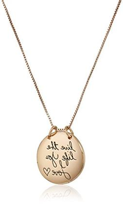 """Sterling Silver Rose-Gold Flashed """"Live The Life You Love"""" C"""