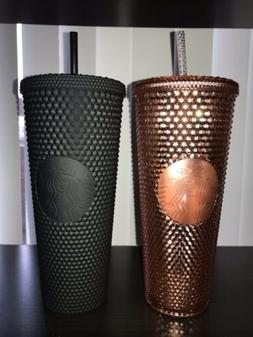 studded black matte and rose gold tumblers