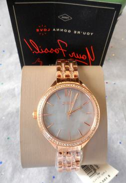 """FOSSIL """"Suitor"""" Rose Gold Crystal Gray MOP Face Watch Cute!!"""