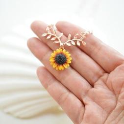 Sunflower Pendant Sun Flower Rose Gold Necklace Chain Jewelr