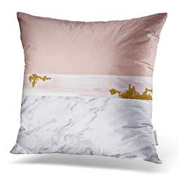Emvency Throw Pillow Cover Rose Gold and Marble Reversible D