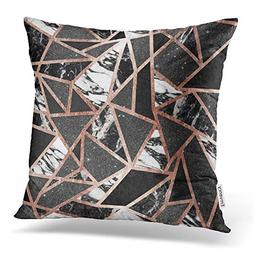 Emvency Throw Pillow Covers Modern Rose Gold Glitter Marble