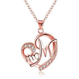 TIVANI-CITY Mother's Birthday Gifts - Mom Heart Necklace Ste
