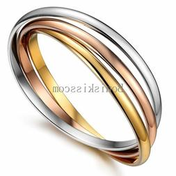 Triple Rolling Rose Gold Tone Silver Stainless Steel Bangle