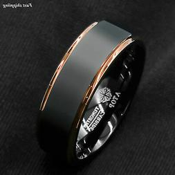 Tungsten Carbide ring rose gold black brushed Wedding Band R