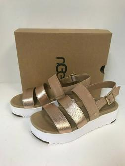 Ugg Women's Braelynn Rose Gold Leather/Suede Platform Sandal