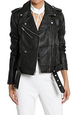 TheMogan Junior's Ultimate Notch Lapel Belted Faux Leather M