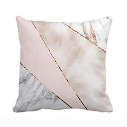 UOOPOO Spliced Mixed Rose Gold Marble Throw Pillow Case Squa