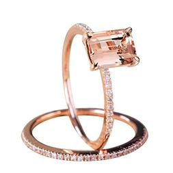 Feitengtd, Rose Gold Engagement Ring with A Fine Small Squar
