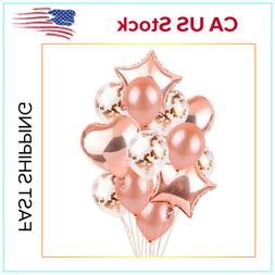US Rose Gold Balloon Set Mixed Latex Confetti Foil Birthday
