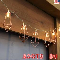 US Rose Gold Mini Cage Lantern String Lights With Diamond Sh