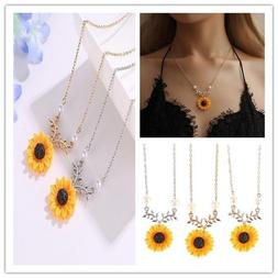 USA Newest Sunflower Pendant Sun Flower Necklace Chain Jewel