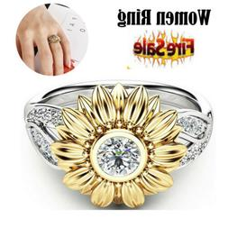 USA Women Sunflower Silver Rose Gold Ring Plated Zircon Prom