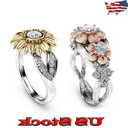 USA Womens Sunflower Silver Rose Gold Ring Plated Zircon Pro