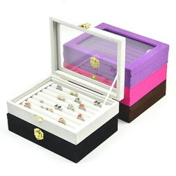 Velvet Jewelry Earring Ring Display Box Tray Holder Storage