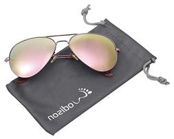 WODISON Vintage Mirrored Aviator Sunglasses for Men/Women Ro