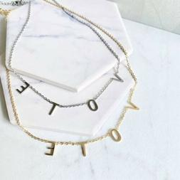 Vote Necklace, Gold, Silver, Rose Gold