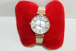 ANNE KLEIN Watch Pale Pink Leather Band Rose Gold Round Face