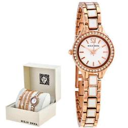 Anne Klein White Dial Rose Gold-tone Ladies Watch and Bracel