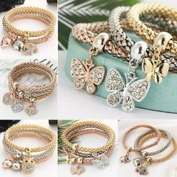Women Girls 3Pcs/Set Gold Silver Rose Gold Bracelets Rhinest