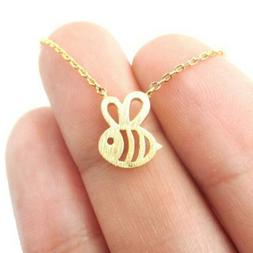 Women Girls Bumble Bee Necklace Cute Insect Charm Pendant Ne