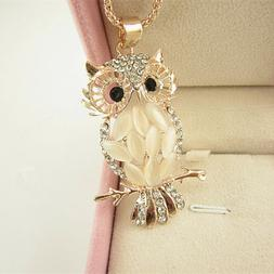 Women Girls Rose Gold Plated Crystal Owl Pendant Necklace Lo
