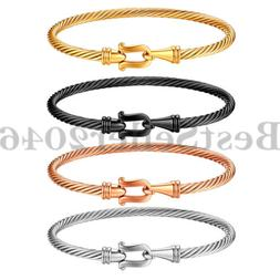 Women Girls Stainless Steel Horse Shoe Twisted Cable Bangle