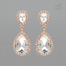 Women Rose Gold Plated Teardrop Crystal Wedding Bridal Drop